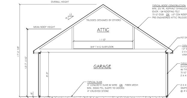 Amish garage blue print with attic for Standard garage roof pitch